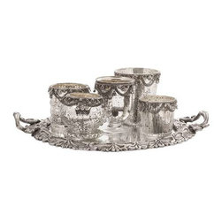 Ramira Glass Votive Holders and Brass Mirror Tray - Set of 6 - This six piece set of mercury glass votive candleholders have intricate chain embellishments and an antiqued silver tone mirrored tray.