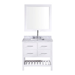 """DESIGN ELEMENT - London 36"""" Single Sink Vanity Set, White - The 36"""" London rectangular-sink vanity in white is elegantly constructed of quality woods. The classic beauty of the white Carrara marble countertop and contemporary style of the white cabinetry bring a sophisticated and clean look to any bathroom. Seated at the base of the ceramic under-mount sink is a chrome finish pop-up drain, designed for easy one-touch draining. A matching framed mirror is included. This beautiful vanity includes two pullout drawers and two pull-down shelves, all accented with satin nickel hardware.There is an additional open storage shelf at the bottom of the vanity. The London Bathroom Vanity is designed as a centerpiece to awe and inspire the eye without sacrificing quality, functionality, or durability."""
