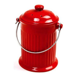 Norpro 1 Gallon Ceramic Compost Keeper, Red - A compost pot could hide all of your unmentionables in the bathroom.