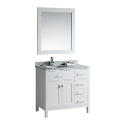 "DESIGN ELEMENT - London 36"" Single Sink Vanity Set - Drawers on the Right, White - The London 36"" Single Sink Vanity Cabinet Set is constructed with quality woods and provides a contemporary design perfect for any bathroom remodel. The ample storage in this free-standing vanity includes one flip-down shelf, four fully functional drawers and one double door cabinet each accented with brushed nickel hardware. The cabinet itself is available in an espresso or white finish and the set is complete with a carrara white marble counter top and matching framed mirror."