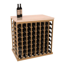 "Wine Racks America - Double Deep Tasting Table Wine Rack Kit with Butcher Block Top in Pine, Oak Stai - The quintessential wine cellar island; this wooden wine rack is a perfect way to create discrete wine storage in open floor space. INCLUDES a 35"" Butcher Block Top that helps you create an intimate tasting table. With an emphasis on customization, install LEDs or add a culinary grade Butcher's Block top to create intimate wine tasting settings. We build this rack to our industry leading standards and your satisfaction is guaranteed."