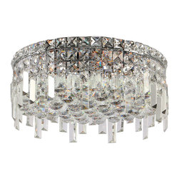 """Worldwide Lighting - Cascade 5 Light Chrome Finish Crystal 16"""" Round Ceiling Light - This stunning 5-light Ceiling Light only uses the best quality material and workmanship ensuring a beautiful heirloom quality piece. Featuring a radiant chrome finish and finely cut premium grade crystals with a lead content of 30%, this elegant ceiling light will give any room sparkle and glamour. Worldwide Lighting Corporation is a privately owned manufacturer of high quality crystal chandeliers, pendants, surface mounts, sconces and custom decorative lighting products for the residential, hospitality and commercial building markets. Our high quality crystals meet all standards of perfection, possessing lead oxide of 30% that is above industry standards and can be seen in prestigious homes, hotels, restaurants, casinos, and churches across the country. Our mission is to enhance your lighting needs with exceptional quality fixtures at a reasonable price."""