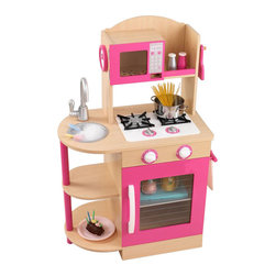 Kidkraft - KidKraft Wooden Kitchen in Pink - Kidkraft - Kitchens - 53195 - Any young chef that likes to help mom and dad with the cooking is sure to love our Primary Wooden Kitchen. It's so much fun coming up with yummy recipes! This precious play kitchen even comes with salt and pepper shakers a spatula and a mixing spoon.