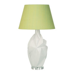 Loving Lighting - Geometric Colorblock Lime Green Table Lamp with Silk Shade - Features:
