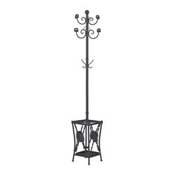 Sterling Industries - Innistone Coat Rack with Umbrella Stand - Never leave the house on a rainy day without your umbrella again! This attractive innistone coat rack with umbrella stand by Sterling will help create a well organized space and a smooth entry or exit. This stand is neat/Stylish providing a place to hang jackets, umbrellas and hats as you welcome family and friends into your home. Black metal stand is 79 inches tall and 12 inches in diameter.