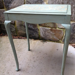 Subtly Blue Side Table - All furniture refinished by Dana Siegel