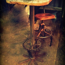 Industrial pub table cast iron base w/ by WestVintageTradingCo
