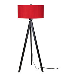 Lights Up! - Woody Floor Lamp -Wood Black Base, Red Dupioni - - Wattage: 150