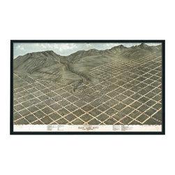 "Christopher David - Salt Lake City Artifact Map, Single Panel Mural - Material: Wood or metal, glass Finish: Matte black wood or industrial grey metal Dimensions: 36.5""W X 22""H"