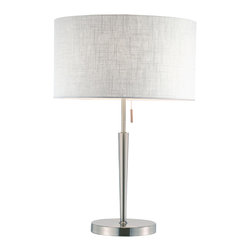 """Adesso Inc. - Hayworth Table Lamp - Elegant satin steel table lamp have a beautiful white textured fabric drum shade. The lower pole flares out: it meets a thinner pole that extends to the socket. Has an on/off steel-accented pull chain. 150 Watt incandescent or equivalent CFL bulb. 22"""" Height, 7"""" Round base. Pole: 13.5"""" Height (9.75"""" flared lower, 3.75"""" thin upper).  Shade: 8.25"""" Height, 15"""" Diameter."""