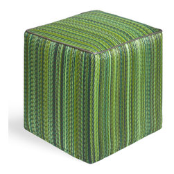 Fab Habitat - Cancun - Green Cube - Eco-chic and artisan made, this vibrant cube is an ottoman you can feel good about. This handmade, vibrantly striped cube is stackable to save space, and made from innovative, recycled materials that are easy to clean.