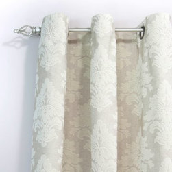 Chooty and Co Tyler Natural Flocked Grommet Curtain Panel - Traditional elegance and textural beauty add a luxurious feeling to your home when you finish with the Chooty and Co Tyler Natural Flocked Grommet Curtain Panel. The natural, tonal palette features a fleur-de-lis pattern with a European flair. Grommets make it easy to hang, and the style makes it even easier to live with.About Chooty & Co.A lifelong dream of running a textile manufacturing business came to life in 2009 for Connie Garrett of Chooty & Co. This achievement was kicked off in September of '09 with the purchase of Blanket Barons, well known for their imported soft as mink baby blankets and equally alluring adult coverlets. Chooty's busy manufacturing facility, located in Council Bluffs, Iowa, utilizes a talented team to offer the blankets in many new fashion-forward patterns and solids. They've also added hundreds of Made in the USA textile products, including accent pillows, table linens, shower curtains, duvet sets, window curtains, and pet beds. Chooty & Co. operates on one simple principle: What is best for our customer is also best for our company.
