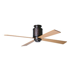 """Period Arts - Country - Cottage 52"""" Bodega Rubbed Bronze Hugger Ceiling Fan - The Bodega fan was inspired by early 20th Century designs of Dick Van Erp. The design stays true to the West coast Arts & Crafts movement by incorporating hammered metal and exposed rivet assembly. Although authentic in design and appearance these fans offer modern motor design electronic controls and a lifetime motor warranty. The hugger kit is required (N2302) to allows for flush ceiling installation. It features a rubbed bronze finish motor and maple finish blades. Included hugger kit allows for flush ceiling installation. From the Period Arts Fan Company. Rubbed bronze finish motor. Four maple finish blades. Lifetime manufacturer motor warranty. Includes hugger kit. Includes wall control. Overall height 12"""". 52"""" blade span."""