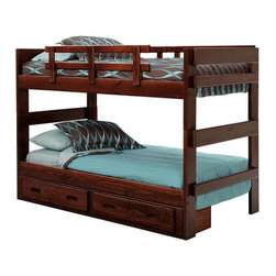 Chelsea Home Furniture - Chelsea Home Twin Over Twin Stacking Bunk Bed w/ Underbed Storage in Dark - With - Providing home elegance in upholstery products such as recliners, stationary upholstery, leather, and accent furniture including chairs, chaises, and benches is the most important part of Chelsea Home Furniture's operations. Bringing high quality, classic and traditional designs that remain fresh for generations to customers' homes is no burden, but a love for hospitality and home beauty. The majority of Chelsea Home Furniture's products are made in the USA, while all are sought after throughout the industry and will remain a staple in home furnishings.