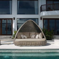 Shade Daybed from Skyline Design - The Shade Outdoor Daybed features a unique and elegant design, indicative of the innovation and quality that has made Skyline Design the leader in luxury outdoor furniture.  Integrating the finest synthetic weaving materials with strong aluminum frames, Skyline Design creates furniture that is as beautiful as it is durable.  Utilizing revolutionary high-density polyethylene weaving material, Skyline Design furniture is high-tensile strength, chemical and UV resistant, all-weather proof furniture that is safe for the environment and 100% recyclable.