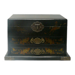 Golden Lotus - Chinese Black Flower Bird Mirror Drawers Storage Box - This jewelry / storage accent box is modified from the traditional Chinese box. It is made of cardboard paper and covered with artificial leather.