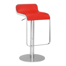 ZUO - Equino Barstool - Red - A smooth S-shaped seat makes the Equnio Barstool comfortable and stylish. An elongated frame allows you to comfortably rest your feet, and the height is adjustable from counter to bar. Comes in red, black, white, or espresso.