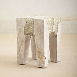 "Anthropologie - Anatolia Side Table - Teak oil, resin, glassWipe with dry cloth15""H, 11""WImported"
