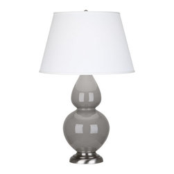 Robert Abbey - Robert Abbey Large Double Gourd Pearl Dupioni Table Lamp with Antique Silver Bas - Smokey Taupe Glazed Ceramic
