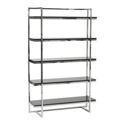 Eurostyle - Gilbert-5 Shelf Unit-Black - High gloss lacquered MDF shelves