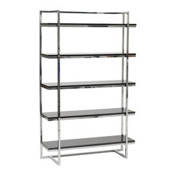 Eurostyle - Gilbert-5 Shelf Unit-Blk - High gloss lacquered MDF shelves