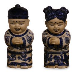 China Furniture and Arts - Porcelain Lucky Boy and Girl - Completely hand-made in China and hand-painted with traditional blue and white motif, these porcelain statues depict a boy and girl in greeting pose with traditional Chinese outfit. It is a decorative art piece to admire.