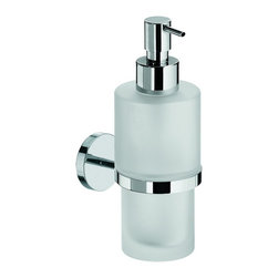 WS Bath Collections - Duemila 55001.29+55006.81-G Self-Adhesive Soap Dispenser Holder with Frosted Gla - Duemila by WS Bath Collections Soap Dish/ Soap Dispenser Holder with Frosted Glass Soap Dispenser, in Polished Chrome, Self-Adhesive Installation