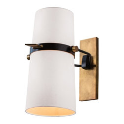 Arteriors - Yasmin Sconce - Black and white with hints of solid brass — what a striking combination for your decor. This simply handsome wall sconce will look great anywhere, but it's specially designed for moist spaces, such as a bathroom or your pool area.