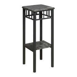 Monarch Specialties - Monarch Specialties 3064 Square Plant Stand in Grey Marble and Charcoal - With its classy grey marble-look top, this plant stand gives a warm feel to any room. Its original charcoal colored metal base provides sturdy support as well as an elegant look. Use this multi- functional table to place your favorite plant, or decorative piece. It will be a sure eye catcher!