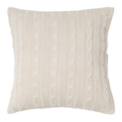 EcoFirstArt - Cable Knit Wooden Button Closure Pillow - Give your pillow a cozy sweater just like your favorite cardigan, with this cotton cable knit-covered cushion. This lovely pillow features a whimsical closure of five wooden buttons, and comes in your choice of several chic colors — white, navy, red or olive.
