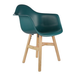 """Drifted Arm Chair in Teal - Some designs were ahead of their time. Considered the chair of tomorrow both for its design and for its innovative single-mold manufacturing technique, one of the most iconic mid-century furniture designs inspired the Drifted Arm Chair. Created in the spirit of economy and affordability, its unique shape was designed to spread the sitter's weight and pressure evenly. The deep seat and waterfall edge provide additional comfort as the design shapes itself around the body's curves, while its natural-tone square base adds stability. If you've done away with formality in your home, the Drifted Arm Chair is that one piece of furniture that exemplifies the """"less is more"""" ethos. It's the ultimate seat for versatility, thriving as a home office chair, as an entryway slipper seat, or as that one statement piece in the living room."""