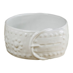 Montes Doggett - Handmade Studded Dog Bowl - Every pup deserves a bowl with a little personality, and this one with a collar motif is extra special. It's one of the very few pet bowls you wouldn't want to hide away once the kibble is gone.