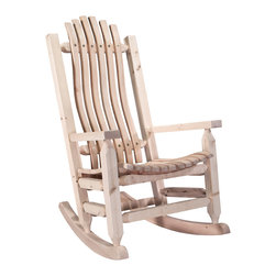 Montana Woodworks - Montana Woodworks Homestead Adult Rocker Ready To Finish - From Montana Woodworks  the largest manufacturer of handcrafted  heirloom quality rustic furnishings in America comes the Homestead Collection line of furniture products.  Handcrafted in the mountains of Montana using solid  American grown wood  the artisans rough saw all the timbers and accessory trim pieces for a look uniquely reminiscent of the timber-framed homes once found on the American frontier.  This cozy rocking chair will ease your worries away with it's gentle back and forth motion.  Ergonomically designed and built to ensure hours of comfortable use  it is also designed and built to last for generations; truly an heirloom quality piece.  You will be delighted with the artistry and the quality materials of this chair; your granddaughter can rock her child to sleep just as you rocked her mother years before.  Comes fully assembled.  20-year limited warranty included at no additional charge.