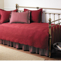 None - Trellis Scarlet 5-piece Day Bed Set - Add a touch of royalty to your room with this Trellis five-piece daybed set in Scarlet. This daybed set includes a quilt,bedskirt,ruffled sham,and two quilted shams - all made of 100-percent cotton - to make you feel like a king or queen.