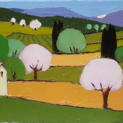 Apple Trees Artwork - A small country house sits at the edge of fields in early leaf. Fields are dotted with trees in stages of bloom from pale pink to pale green. Primary colors include shades of green, orange and pale pink.