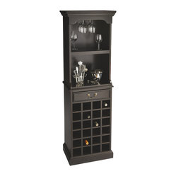 Butler Furniture - Wine Storage Cabinet (item Ships In Two Cartons) - Balancing good looks with function, this wine cabinet is a great addition for in-home entertaining. Crafted from selected solid woods, wood products and choice veneers, it boasts a cherry veneer top, sides, fixed upper shelf, middle serving area, and drawer front. It holds up to 24 bottles of wine, has a built-in stemware rack, and one drawer with antique brass finished hardware.