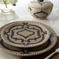 "GG Collection - GG Collection ""Ogee"" Dinnerware - Beautifully functional, this striking dinnerware features an Italian-inspired design surrounded by textural beaded borders. Handcrafted of ceramic. Hand painted. Dishwasher and microwave safe; bowl lid not microwave safe. Plates sold in sets of four..."