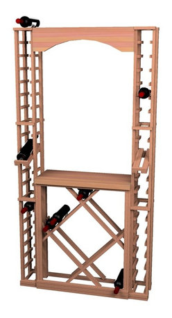 Wine Cellar Innovations - Traditional Series Tasting Center Bundle - This Traditional Redwood & Pine wine racks tasting center includes a handy tabletop area to set or display items on. Kit includes One Arch (ARCH2), One Tabletop (TT2), One Open Diamond Bin (ODIAM)and Two 1 Column Individuals with Display Row (1COLDS). Assembly required.