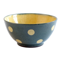 "Polka-Dot Ice Cream Bowl, Blue, 5""w X 2.5""h - If you have a soft spot for dots, you'll appreciate this playful design of Richard Esteban. The interior (and the dots) are glazed in a warm, buttery yellow that complements the warm exterior color."