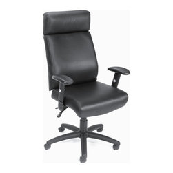 "BOSS Chair - Executive Chair Upholstered In Black w Arms, - Beautifully upholstered with our ultra soft and durable Caressoft upholstery. 3 paddle multi-function tilting mechanism which allows the seat and back to lock in any position throughout the tilt range. Adjustable height and width armrests with soft polyurethane pad. Hooded double wheel casters. Upright locking position. Ratchet height adjustment on back cushion. Large 27"" nylon base for grater stability. Pneumatic gas lift seat height adjustment. Optional seat slider upgrade available.(B700-SS). Matching guest chair (B709). Cushion color: Black. Base/wood: Black. Seat size: 20.5 in. W x 20 in. D. Seat height: 18.5 in. -22.5 in. H. Arm height: 25.5 in. -30.5 in. H. Overall dimension: 27.5 in. W x 27 in. D x 45-48 in. H. Weight capacity: 250 lbs"