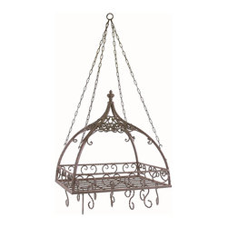 Imax - iMax Domed Pot Rack with Hooks X-4877 - Traditional wrought iron domed pot rack with hooks features open metal-work design