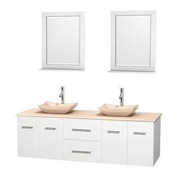 """Wyndham Collection - Centra 72"""" White Double Vanity, Ivory Marble Top, Avalon Ivory Marble Sinks - Simplicity and elegance combine in the perfect lines of the Centra vanity by the Wyndham Collection. If cutting-edge contemporary design is your style then the Centra vanity is for you - modern, chic and built to last a lifetime. Available with green glass, pure white man-made stone, ivory marble or white carrera marble counters, with stunning vessel or undermount sink(s) and matching mirror(s). Featuring soft close door hinges, drawer glides, and meticulously finished with brushed chrome hardware. The attention to detail on this beautiful vanity is second to none."""