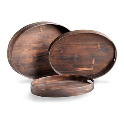 Dupre Trays - Oval - Deep walnut stain emphasizes the grain of the Dupre Oval Trays' wood. High-sided for easy serving and safe display of fragile treasures, this useful piece is ideal for softening the angles of a rectangular coffee table, sideboard, or ottoman, and its dark wood unifies the portable surface with the classic neutral tones used in traditional home decor.