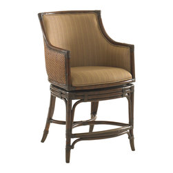 Lexington - Lexington Landara Oceana Swivel Counter Stool 545-815-01 - Luxurious woven raffia outside back, with upholstered inside back featured in a woven pattern with highlights of sunset gold and cilantro green, set on a chestnut background. Details like leather strapped carved rattan trim and antique brass finished metal kick plate and ferrules make this piece truly inspiring.