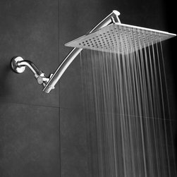 None - Aquagenix Razor Mega Size 9-inch Chrome Face Square Rainfall Shower w/ Arch Desi - Enjoy a refreshing and relaxing shower experience with this truly elegant and impressive shower. Featuring a sleek design,this high quality fixed mount overhead shower will look stylish in any modern bathroom. Tool Free Installation. Lifetime Warranty.