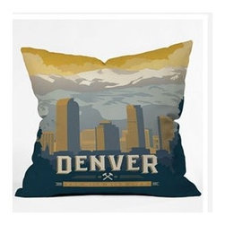 """DENY Designs - Anderson Design Group Denver 1 Throw Pillow - Wanna transform a serious room into a fun, inviting space? Looking to complete a room full of solids with a unique print? Need to add a pop of color to your dull, lackluster space? Accomplish all of the above with one simple, yet powerful home accessory we like to call the DENY Throw Pillow! Features: -Anderson Design Group collection. -Material: Woven polyester. -Sealed closure. -Top and back color: Print. -Spot treatment with mild detergent. -Made in the USA. -Closure: Concealed zipper with bun insert. -Small dimensions: 16"""" H x 16"""" W x 4"""" D, 3 lbs. -Medium dimensions: 18"""" H x 18"""" W x 5"""" D, 3 lbs. -Large dimensions: 20"""" H x 20"""" W x 6"""" D, 3 lbs."""