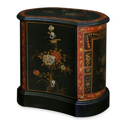 China Furniture and Arts - Hand Painted Tibetan Design Chest of Drawers - This uniquely shaped cabinet is a perfect example of Tibetan furniture design. The large black base and black background with stylized flowers and sanguine red decorating edges distinguish Tibetan design style from that of China, Japan or Korea. Three felt-lined drawers are masterfully built to fit the concave shape of the cabinet. Delicate flowers are hand painted by skilled artisans with a diligence of Tibetan monastic painters.
