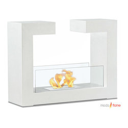 Moda Flame - Moda Flame Beja Free Standing Floor Indoor Outdoor Ethanol Fireplace in White - Add warmth, charm and ambiance with GF201900W Beja Free Standing Floor Indoor Outdoor Ethanol Fireplace in White by Moda Flame Beja modern fireplace has a distinctive contemporary look as a fun geometric shape that is sure to impress. constructed from highest grade of steel, powder coated, includes tempered glass on either side to act as a barrier from the real flame of the fire. Fireplace (1)