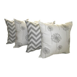 Land of Pillows - Zig Zag Storm Gray and Dandelion Storm Gray Decorative Throw Pillow - 4 Pack, 16 - Fabric Designer - Premier Prints