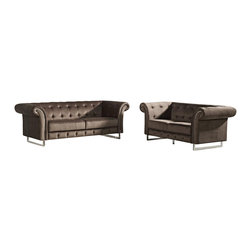 VIG Furniture - Soren Brown Microfiber Fabric Three Piece Sofa Set - The Soren sofa set will add a unique and stylish modern design to your living room decor. This sofa set comes upholstered in a beautiful brown microfiber fabric. High density foam is placed within each piece for added comfort. The sofa set features a beautiful tufted design within the seating area that adds a Victorian era look. The sofa set includes a sofa, loveseat, and chair only.